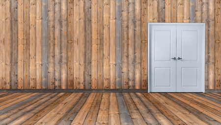 empty room with white door and wooden wall
