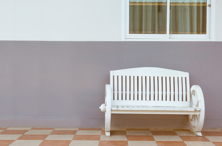 window bench: white bench with window