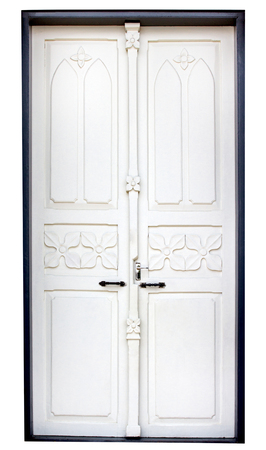 White wooden door isolated on white background,clipping path