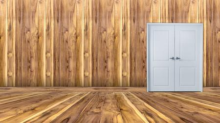 doorknob: empty room with white door and wooden wall