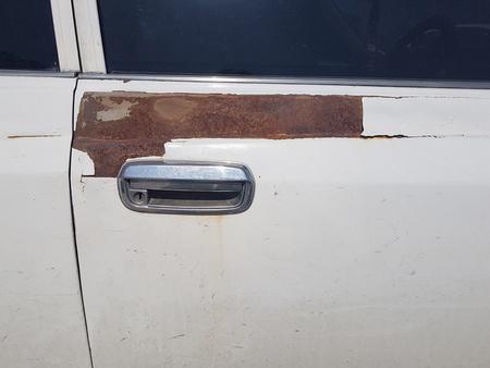 dirty car: chrome car door handle