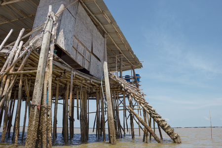 View of Bamboo House in Thailand,Krateng in the middle of the sea.