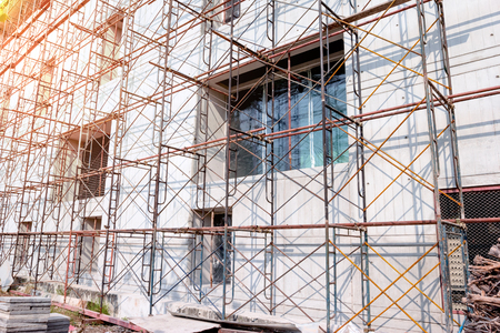 scaffolds: Steel scaffolding at construction