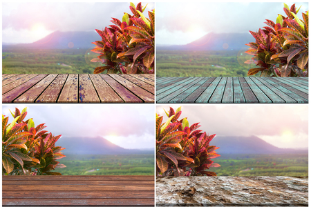 Set top desk with  morning landscape blurred background,wooden table  Stock Photo