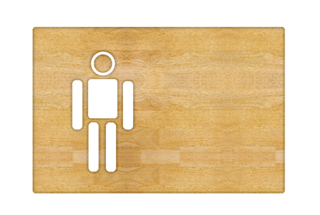 closet door: wooden label with male sign isolated on white background