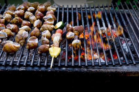 Dinner barbecue with grilled spotted babylon and roast pork on charcoal stove Stock Photo