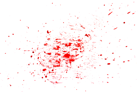 closeup drops of red blood isolated on white, abstract background Stock Photo - 84783009