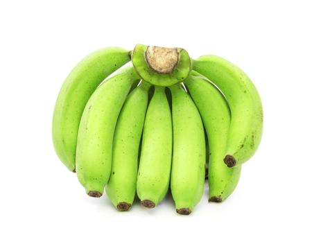 banana skin: green bananas isolated on white background
