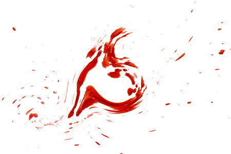closeup drops of red blood isolated on white, abstract background