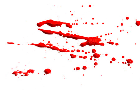 closeup drops of red blood isolated on white,abstract background Stock Photo