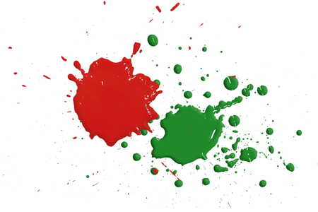 Green and red drops isolated on white background,abstract pattern Stock Photo