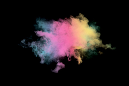 condensation: Colored cloud isolated on black background,Textured Smoke,Abstract black
