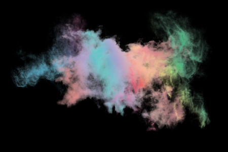 Colored cloud isolated on black background,Textured Smoke,Abstract black