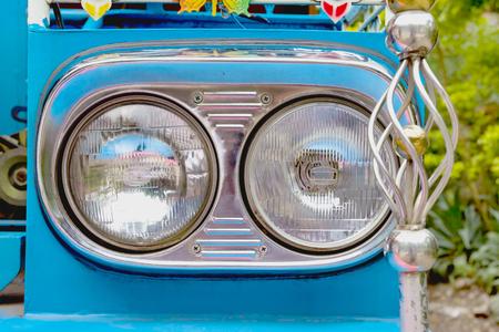 closeup headlight lamp
