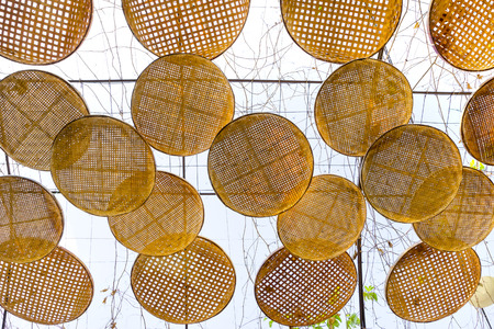 threshing basket decorated for sunshade Stock Photo