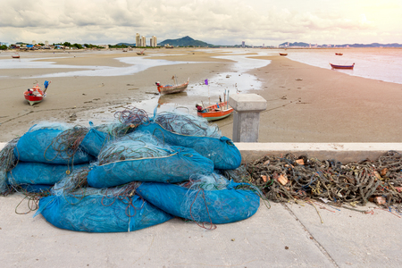 fishing nets on jetty