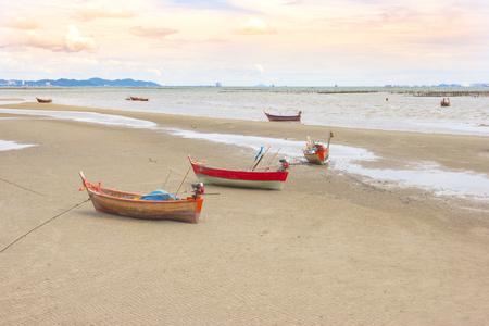 Coastal fishing boats on the Beach Stock Photo