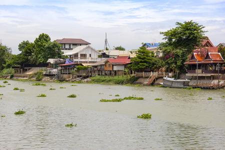 waterfront community at ayutthaya thailand