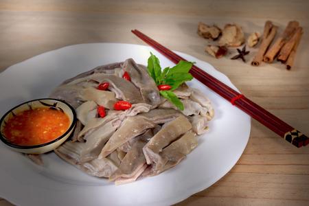 closeup pork stomach sliced with sauce Stock Photo