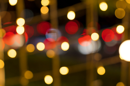 Colorful red orange bokeh background of Christmas lights and New year Stock Photo