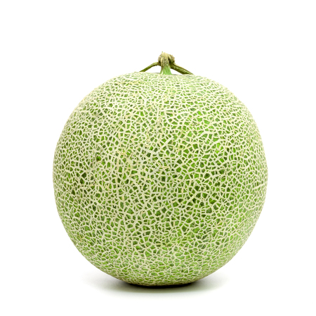 green cantaloupe melon isolated on white background