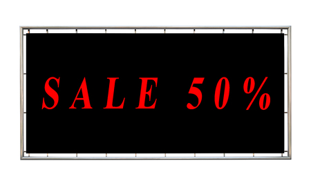 Billboards with red word sale on black background,isolated on white background,clipping path