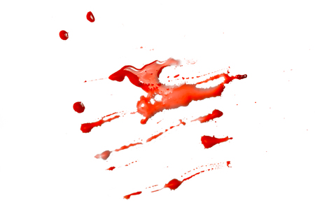 closeup drops of red blood isolated on white background,abstract pattern