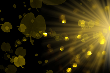 Colorful gold bokeh background of Christmas lights and New year,leaves pattern