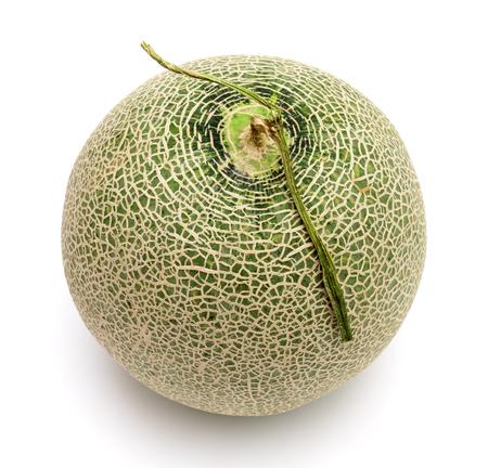 green cantaloupe melon isolated on white background
