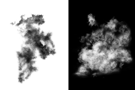 Textured Smoke,cloud isolated on black background,Abstract white Stock Photo