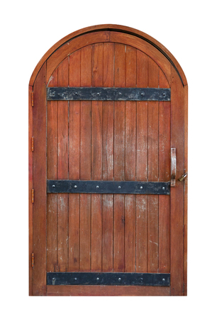 ancient brown wooden door isolated on white background Stock Photo