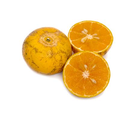 half of orange isolated on the white background,Thai fruit