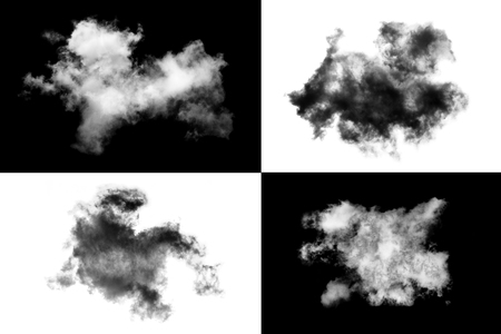 White cloud isolated on black background,Textured Smoke ,brush effect