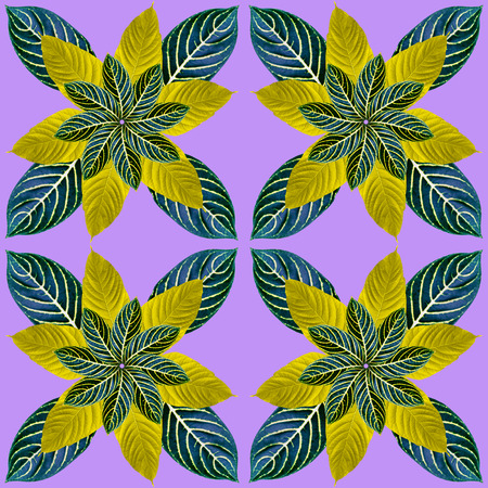 colorful leaves pattern for nature concept,tropical exotic plant leaf,seamless background for textile and fabric design Stock Photo