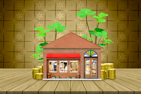 top table with store and coin on golden leaves pattern background,Lucky economic growth concept