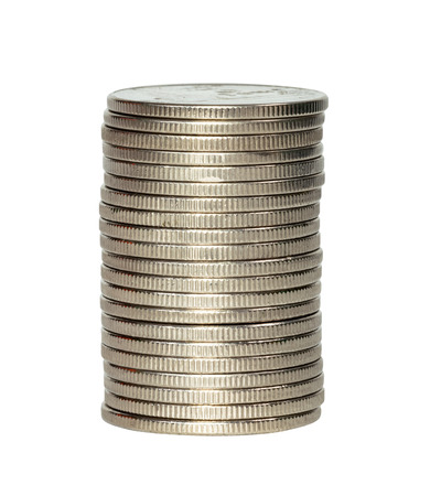 closeup silver coins stacks isolated on white background