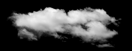 White cloud isolated on black background,Textured smoke,brush effect Stock Photo