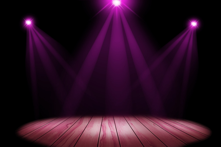 Pink lighting on stage with floor wood