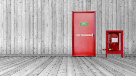 Fire exit door and fire extinguish equipment 免版税图像