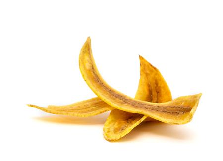 sweet banana crisps  isolated on white background