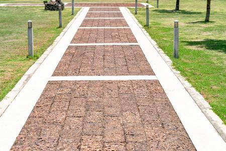 Brown stone walkway in garden