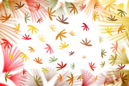 colorful leaves pattern on white background,gradient color pastel autumn leaf,ideas graphic design for web or banner Stock Photo - 118542579