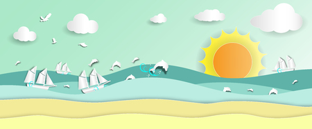 Sea view with barque and dolphins jumping on beach in summer of paper art style,vector or illustration with travel concept