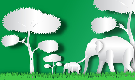 Elephant horde in forest of paper art style,vector or illustration with travel concept