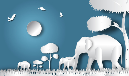 Elephant horde in nighttime forest of paper art style,vector or illustration with travel concept