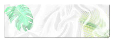 top long table with green monstera leaves pattern overlay on white satin fabric texture soft blur background Stock Photo