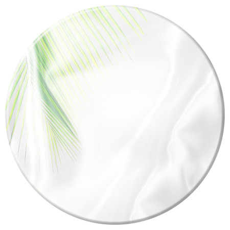 top round table with green palm leaves pattern overlay on white satin fabric texture soft blur background