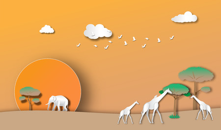 giraffe and elephant  in evening forest of paper art style,vector or illustration with travel concept
