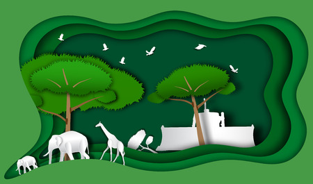 Green frame with wild animal and tractor in forest of paper art style,vector or illustration with forest conservation concept