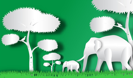 Elephant horde in forest of paper art style,vector or illustration with travel concept Stock Photo